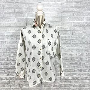 Vtg 90s Sudden Impact White Grey Patterned Shirt